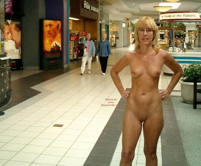 Nude public with glasses